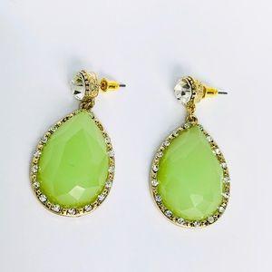 New! Tear Drop Crystal Rhinestones Earrings Gold